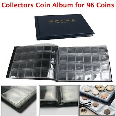 96 Coin Collection Holders Storage Collecting Money Penny Pockets Album Book