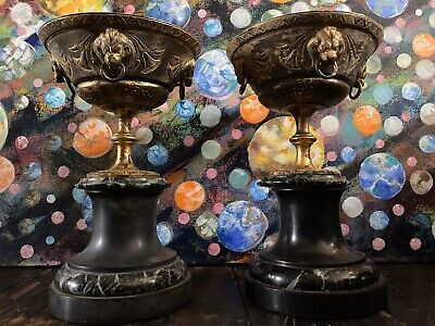 Antique 19th Century Pair Of French Italian Bronze Marble Tazzas