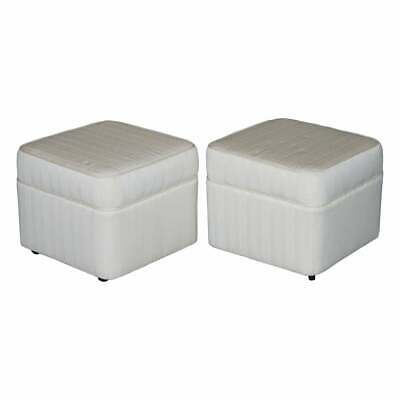 Part Large Suite Pair Of Vintage Mid Century Upholstered Footstools On Castors