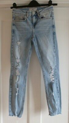 Girls Age 11 yrs Light Blue Cotton Denim Skinny Ripped Jeans from New Look