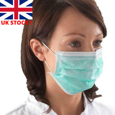 Disposable Surgical 3 Ply Face Mask For Virus Flu Protection W/ Elastic Ear Loop