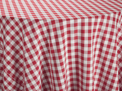 """Red & White Spun Poly Royal Crest Linen Tablecloth 42-Inch Square Size 42"""" X 42"""""""