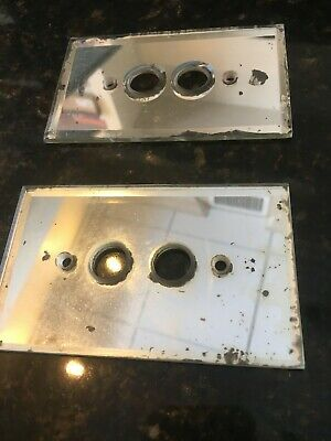 Two Vintage Single Push Button Glass Light Switch Cover Plates