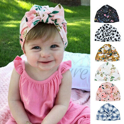 Baby Toddler Girls Bowknot Turban Hat Stretchy Winter Warm Head Wrap Beanie Cap