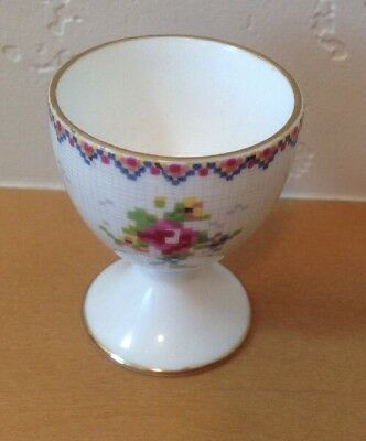 Royal Albert Petit Point Footed Egg Cup Coddler Needlepoint Floral England