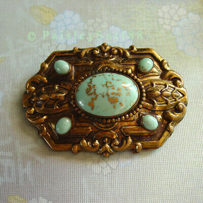 """Antique Vintage HUGE Art Deco Brass & Faux Turquoise Cabs PIN BROOCH """"C"""" clasp"""
