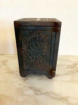 ANTIQUE ORIGINAL CAST IRON WHITE CITY PUZZLE SAFE STILL BANK No. 326