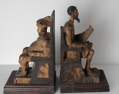 Continental Hand Carved Don Quixote and Sancho Panza Figural Bookends, c1920