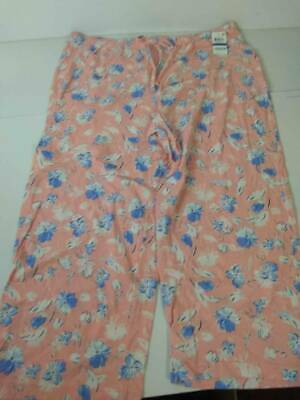 Charter Club Womens Pajama Pant Separates Orange Blue Artistic Floral XL New
