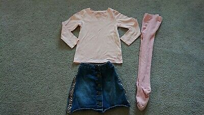 Girls Bundle Set Outfit Denim Skirt Long Sleeved Top Tights Age 6-7 Years 7-8...