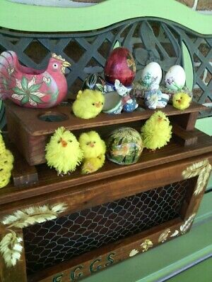 COUNTRY Kitchen EGG BOX with a COLLECTION of EGG Stuff