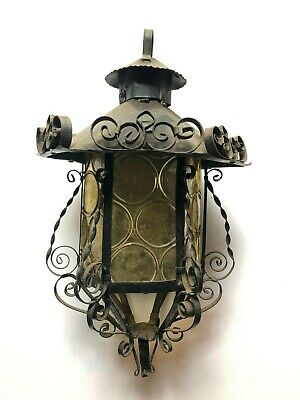 Mid Century Spanish Gothic Lamp/Light Amber Glass 6 Panels Wrought Iron Vtg