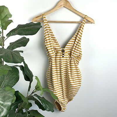 A PEA IN THE POD Bathing Suit Maternity One Piece Striped Yellow Strappy Large