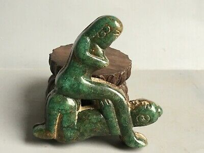 Chinese old natural jade hand-carved jade man and woman statue pendant G109