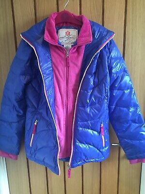 Down & Feather (80% 20%) Girls Snuggly Heavy Jacket / Coat. Blue & Pink - Age 14