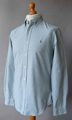 Men's Blue & Green Checked Polo by Ralph Lauren Long Sleeved Shirt Size M.