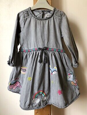 Next Baby Girls Grey Embroidered Dress Long Sleevees Age 12-18 Months Vgc
