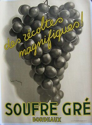 Vintage Lithograph Wine Poster on Linen
