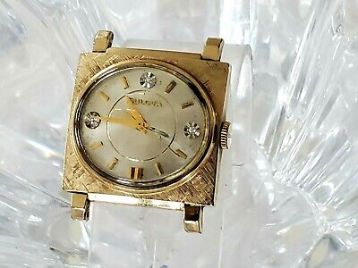 Vintage Bulova Square Diamond Dial Art Deco Mens Watch - 10K Gold Filled(343)
