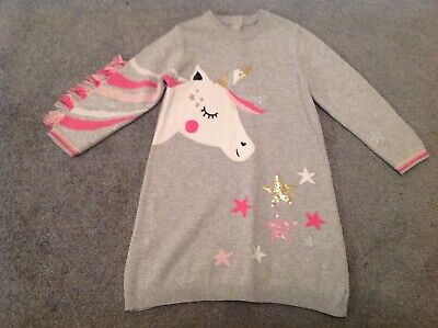 Baby Girls Toddler Marks And Spencer M & S Grey Unicorn Jumper Dress 2-3 Years