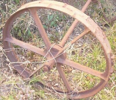 Very Old Steel Wheel On Axle Originally Off Old Lucene Mower Horse Drawn