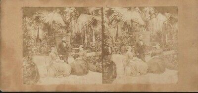 Family Group in Tropical Garden Setting - Vintage/Antique 3D Stereoview Card