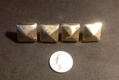 "4 Heavy Solid Brass Hand Forged Door Studs,3/4"" With Steel Screw. Square Pyramid"