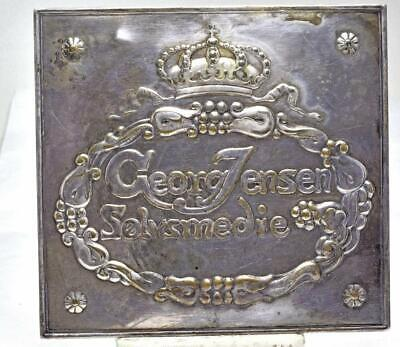 """Rare Georg Jensen SOLVSMEDIE Sterling Store plaque Wall square 4.75"""" Wide square"""
