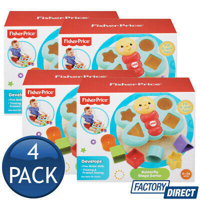 4 x FISHER PRICE BUTTERFLY SHAPE SORTER INFANT BABY TODDLER EDUCATIONAL TOYS