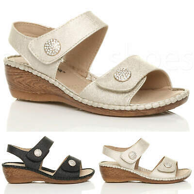 Womens Ladies Low Mid Wedge Heel Slingback Strappy Comfort Sandals Size