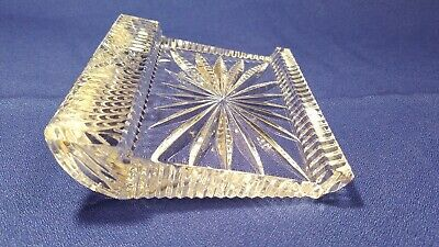 """Waterford Crystal Glass Rectangular 3""""x5"""" Notepad Holder Used in Original Box"""