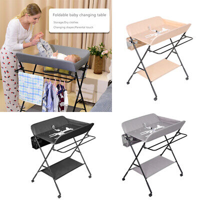 Foldable Baby Changing Table Unit Nursery Changer Bed Infant Care Station Mobile