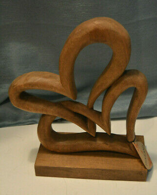 """Wooden Heart Double Hearts Hand Carved on a Wood Base 11"""" Tall, 8 3/4"""" Base New"""