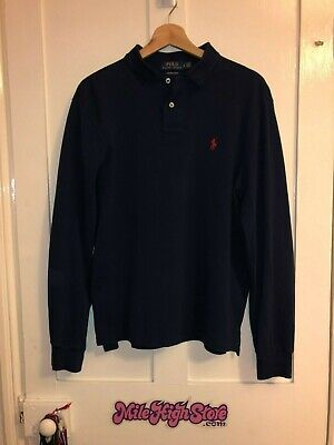 Ralph Lauren Long Sleeve Polo Shirt Blue Slim Fit Large Red Horse Free P&P