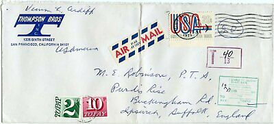 Great Britain, USA 1971 Air Cover w/Airmail 20c, GB Postage Due 2p & 10p