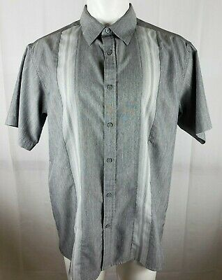 Haggar Men's Size Large Two Tone Gray Shirt Striped Short Sleeve Button Front