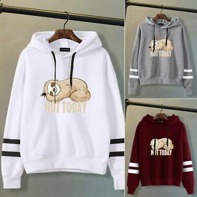 Women Teen Girls Casual Hoodies Sloth Hooded Sweatshirt Pullover Tops AU Tops