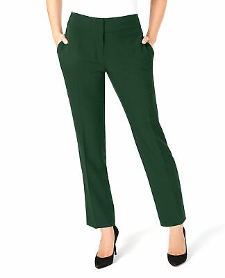 Kasper | Stretch Crepe Slim-Leg Pants | Green | 16