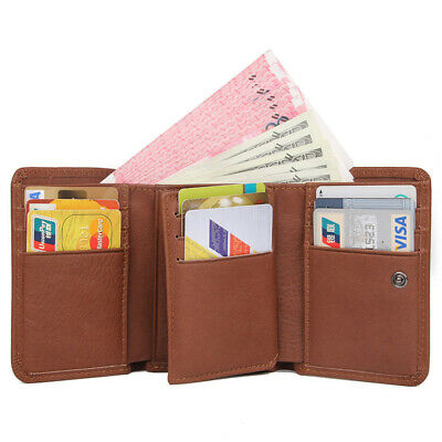 Retro Men's RFID Blocking Genuine Leather Trifold Purse Card Slots Short Wallets