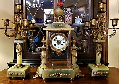 19th Century French Green Onyx and Gilt Mantel Clock Garniture.