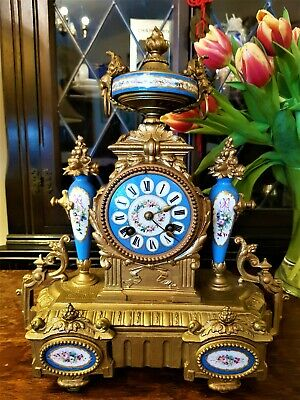 Antique French Gilt & Porcelain Mantel Clock.