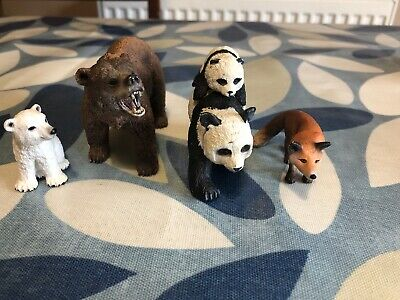 Bundle Schleich Model / Toy Animals Bear, Polar Cub, Fox & ELC Pandas