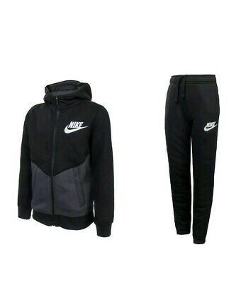 JUNIOR'S NIKE HOODED BLACK FULL TRACKSUIT AJ6729-010 size medium