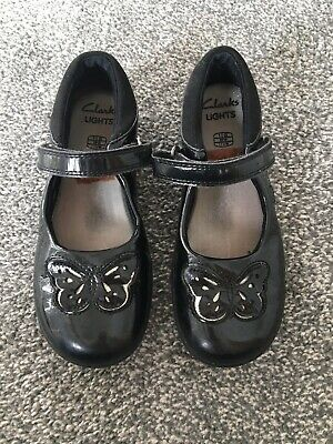 Clarks Girls Childs Black Butterfly Design Patent School Shoes Lights Size 11 G