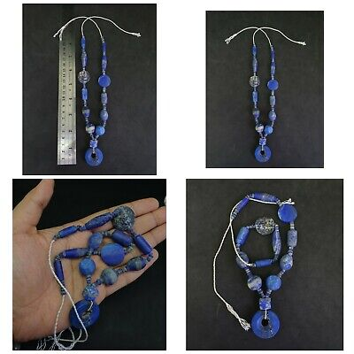 Beautiful Unpolished Old Natural Lapis Lazuli Beads String with a pendant #98S