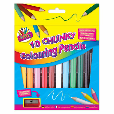 Tallon 1084 - 10 Chunky 1/2 Size Col Pencils & Sharpener Kids Drawing Colouring
