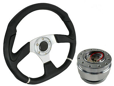 D1 SILVER D-SHAPED Steering Wheel + Quick Release boss kit B30 for MAZDA