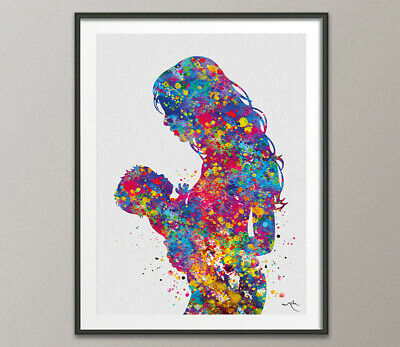 Mother and Baby Watercolor Print Mother and Son Mother and Kids Gift Mom-1666