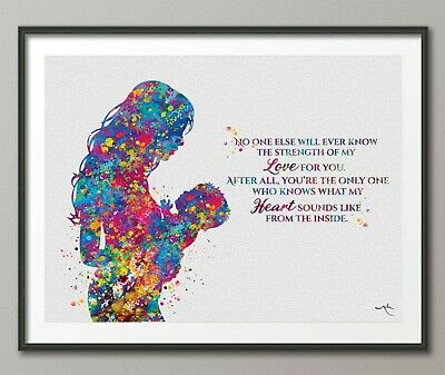 Mother and Baby Quote Watercolor Print Mother and Kids Nusery Baby Shower-1668