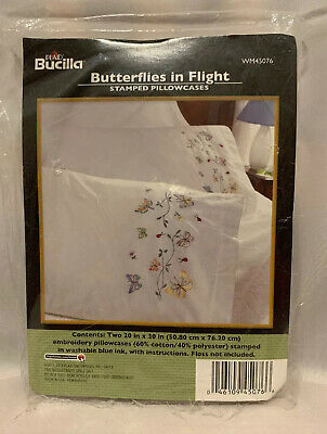 NIP Bucilla Stamped for Embroidery Kit Pillowcase Pair Butterflies in Flight